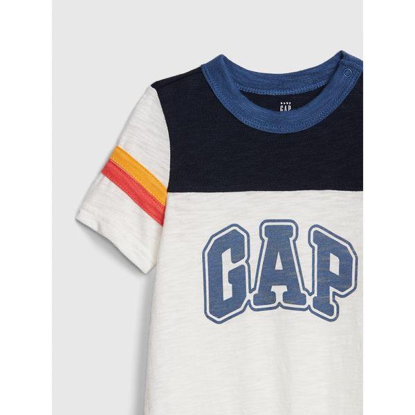 Gap男嬰兒 Logo印花短袖圓領包屁衣 471423-光感亮白
