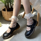 蕾絲襪子女lolita交叉綁帶短襪可愛JK日系薄款蕾絲花邊堆堆襪【慢客生活】