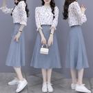 雪紡洋裝 春裝雪紡連身裙2021年新款夏女裝收腰顯瘦氣質長袖套裝裙仙女森系