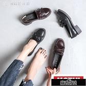 樂福鞋女夏季英倫學院風女鞋中跟一腳蹬CHIC復古小皮鞋女KLBH57434【全館免運】