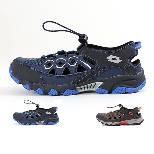 男款 LOTTO透氣速乾排水束扣耐磨橡膠止滑底 休閒登山鞋 踏青鞋 護趾涼鞋 運動涼鞋 59鞋廊