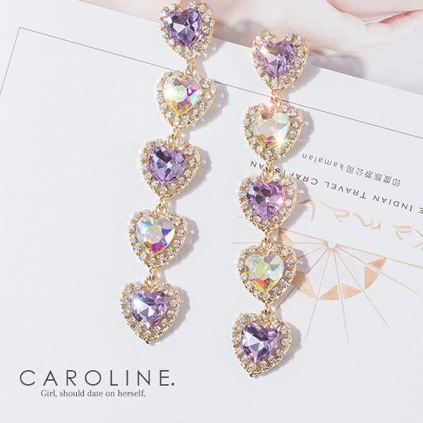 《Caroline》★韓國紫羅蘭水晶愛心時尚耳環 Bling  Bling 絢麗閃亮動人耳環70080