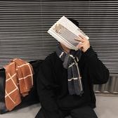 特賣圍巾   冬季新款男士青少年日系圍巾男冬季學生港風格子毛線圍脖潮