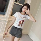 FINDSENSE G5 韓國時尚 白搭 修身 印花 圓領 短袖 T恤 上衣