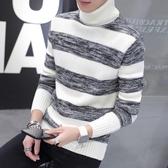 秋冬季新款男士長袖T恤韓版加厚高領毛衣男學生保暖針織打底衫潮 快速出貨