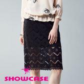 【SHOWCASE】氣質名媛鏤空鋸齒蕾絲顯瘦及膝裙(黑)