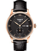 TISSOT 天梭 Le Locle Gent 力洛克小秒針機械手錶-黑x玫瑰金框/39mm T0064283605801