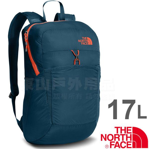 The North Face CJ2Z-XSD墨藍/橙 TNF 17L可折疊輕便背包 戶外健行背包