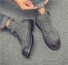 馬丁靴男加絨保暖潮鞋英倫靴子百搭軍靴中幫男靴高幫工裝棉鞋