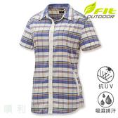 維特FIT 女款手插袋舒適版格紋襯衫 IS2203 米白色 排汗襯衫 格紋襯衫 防曬襯衫 OUTDOOR NICE