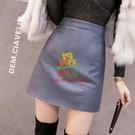 皮裙 皮裙子半身裙 女秋冬黑色小皮裙高腰a字裙包臀短裙時尚【樂淘淘】