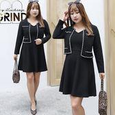 中大尺碼~大氣V領假兩件長袖洋裝(XL~4XL)