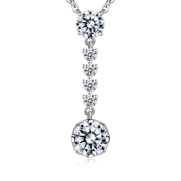 Majalica純銀項鍊垂墜造型高貴典雅2.0克拉擬真鑽通體925銀女短鏈鍊銀飾品牌推薦PN7054