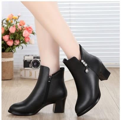 小鄧子冬季靴子女短靴粗跟中年女靴真皮女士冬鞋加絨保暖媽媽鞋棉鞋中跟