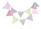 [麻子小鋪] 糖果色條紋格子三角旗掛飾 生日聚會裝飾旗 拍攝道具背景裝飾掛旗 棉布三角彩旗