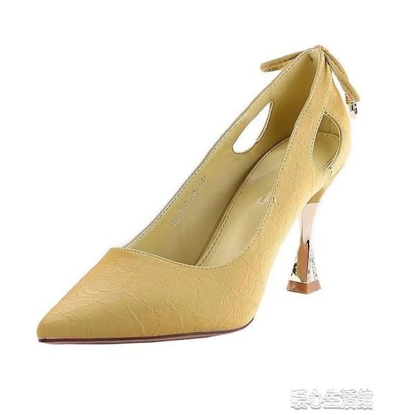 細跟鞋高跟鞋細跟新款春季尖頭性感鏤空網紅法式少女蝴蝶結百搭單鞋