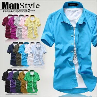 襯衫ManStyle潮流嚴選素面素色馬卡龍糖果色休閒短袖襯衫男【09C0006】