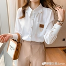 職業白襯衫女春裝新款復古輕熟設計感小眾鏈條襯衣尖領雪紡衫 檸檬衣舍