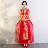 紅色新娘敬酒服旗袍2018新款結婚中式婚紗禮服嫁衣龍鳳褂秀禾服女 【PINKQ】
