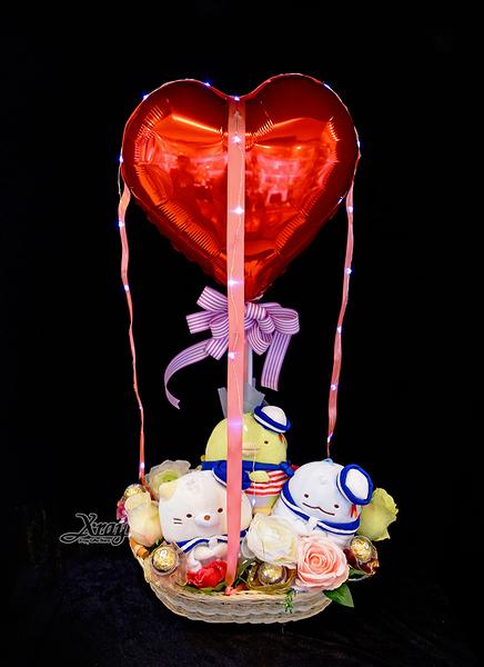6吋海軍角落生物*3幸福熱氣球,金莎花束/情人節禮物/婚禮佈置/派對慶生,節慶王【Y579901】