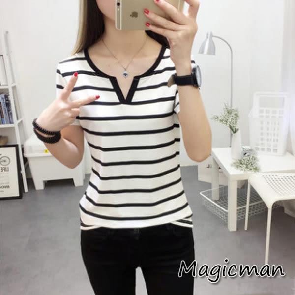 【現貨】T恤 V領短袖T黑白條紋寬松上衣 QJ0104★Magic Man★