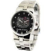 HELLO KITTY 凱蒂貓晶鑽腕錶-黑x銀/34mm HKRC68L-03C