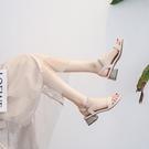 中跟鞋 2019新款夏季網紅百搭中跟粗跟...