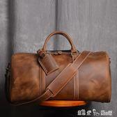 男士手提行李袋歐美瘋馬皮旅行包頭層大容量單肩斜挎 「潔思米」