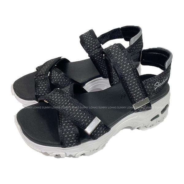 (C5) SKECHERS 女鞋 D'LITES 涼拖鞋 厚底涼鞋 輕量避震 119241BKPW黑銀 [陽光樂活]