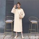 休閒洋裝 港風中長款衛衣連身裙子女秋冬韓...