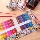 筆簾卷式筆袋帆布大容量女初高中可愛48孔彩鉛素描鉛筆美術繪畫專用36色收納 黛尼時尚精品