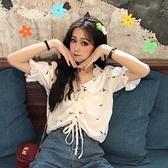 秋季新款上衣韓版洋氣甜美小清新襯衣設計感小眾短袖襯衫女潮