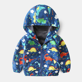 俏皮恐龍加絨風衣外套 多彩恐龍 童裝 防風外套