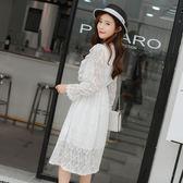 大韓訂製白色連身裙甜美蕾絲長袖洋裝鏤空鬆緊腰長裙約會穿搭韓