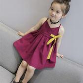 女童夏裝新款童裝 兒童公主裙寶寶韓版V領吊帶裙公主裙子