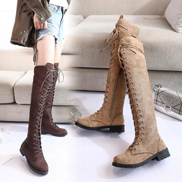 膝上靴 夏季新款馬丁靴女英倫風過膝靴女長筒高筒靴騎士機車靴子女  poly girl