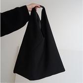 韓版新慵懶風大包 暗黑風單肩包手提包 拼接休閑帆布包 女包 極簡雜貨