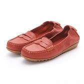 MICHELLE PARK 輕時尚舒適彈力牛皮馬克縫休閒鞋平底鞋-橘