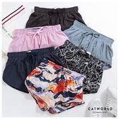 Catworld 腰抽繩防走光雙層運動短褲【14001208】‧S-XL