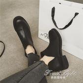 短靴歐美V口短靴子女中跟粗跟騎士馬丁靴子圓頭及裸靴 果果輕時尚