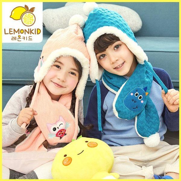 麻花绒球護耳帽/圍巾 超值兩件套 Lemonkid 檸檬寶寶  28028