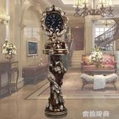 歐式落地鐘美式客廳靜音創意孔雀大座鐘別墅擺件大鐘裝飾立鐘鐘錶『蜜桃時尚』