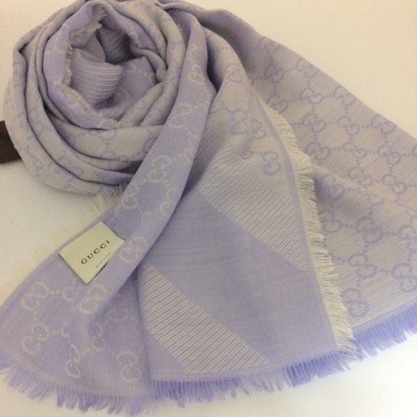 GUCCI全新真品 雙G緹花雙色 方巾/圍巾/披肩 (珠光白/淡紫色 ) ~現貨特價