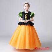 聖誕服裝 兒童萬聖節服裝女巫公主裙女童化妝舞會南瓜小女巫婆帽子斗篷衣服T 2色100cm-150cm