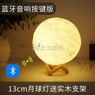 (快出)藍芽喇叭月球月亮復古無線藍芽音箱3d環繞家用迷你音響帶彩燈閃光便攜式