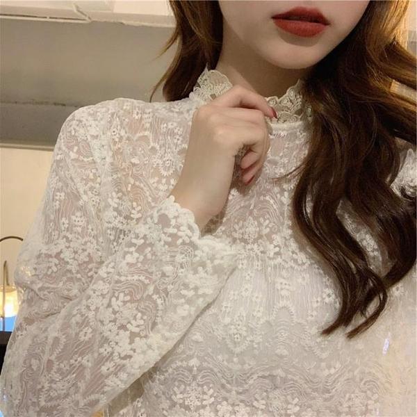 限時特銷 優質秋新款女裝韓版顯瘦蕾絲打底衫內搭百搭超仙洋氣小衫網紗上衣