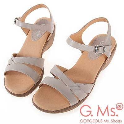G.Ms. MIT系列-牛皮楔型坡跟涼鞋-杏色