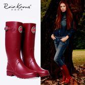 雨鞋   搭扣徽章女式春夏高筒橡膠雨鞋女士雨靴質感高筒雨靴