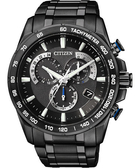 CITIZEN Eco-Drive鈦 單局電波鬧鈴腕錶-IP黑 AS8025-57E