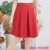 RED HOUSE-蕾赫斯-素面打褶裙(紅色)